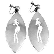HUGE Vintage 1950s 60s ANTONIO PINEDA Taxco 970 Silver Mexican Modernist Female Figure Screw EARRINGS