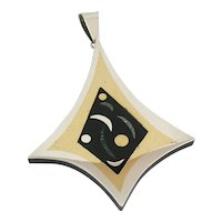 HUGE 1950s Estela POPOWSKI Taxco Handmade Mixed Metals Sterling Silver Brass Black Onyx & Green Stone Mexican Modernist PENDANT