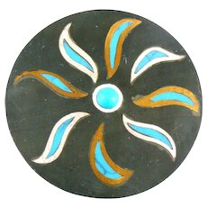 BIG 1950s 60s TONO of Taxco Handmade Mixed Metals Sterling Silver Brass Black Onyx & Turquoise Mexican Modernist SUN Brooch Pin PENDANT
