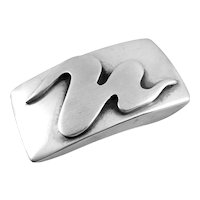 RARE Vintage 1940s 50s Maxwell CHAYAT Handmade Sterling Silver Biomorphic Modernist Belt BUCKLE