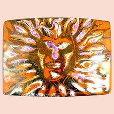 HUGE 1960s 70s Handmade Copper Enamel Hippie Modernist Psychedelic SUN GOD Design Belt BUCKLE