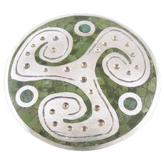 BIG Vintage 1950s Enrique LEDESMA Taxco Handmade Sterling Silver and Mosaic Stone Inlay Mexican Modernist Design Brooch PIN
