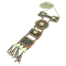 """HUGE 1960s 70s MAYA Mexico Handmade Mixed Metals Copper Brass & Green Onyx Long Dangling Pendant NECKLACE - over 7-1/2"""" Drop!!"""