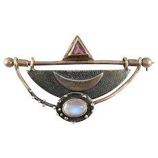 BIG Vintage 1980s 90s Handmade Sterling Silver Gold Overlay Moonstone & Amethyst Geometric Design Brooch PIN