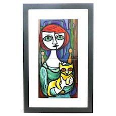 ELLAMARIE Woolley San Diego California Craft 1950s Handmade Copper Enamel Woman with Cat Original ARTWORK