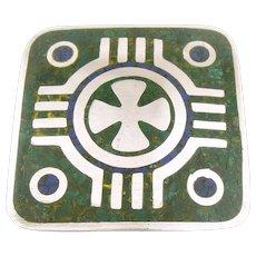 RARE 1950s Enrique LEDESMA Taxco Handmade Sterling Silver & Azurmalachite Stone Inlay Mexican Modernist Maltese Cross Design Brooch PIN