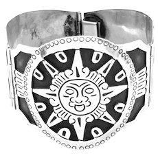 HUGE 1950s LOS BALLESTEROS Taxco Handmade Sterling Silver Mexican pre Columbian Design SUN GOD Link BRACELET