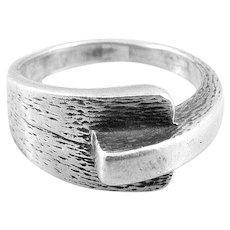 RARE Vintage 1960s 70s HERMES Paris Handmade Sterling Silver French Modernist Design RING - Size 6.75-7 US