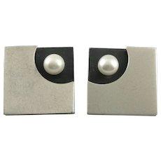 BIG 1980s Handmade Sterling Silver & Cultured Pearl Geometric Modernist Design Pierced EARRINGS