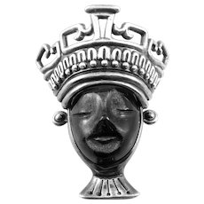 BIG Rare 1980s Los Ballesteros Taxco Mexico Handmade Sterling Silver & Carved Obsidian Crowned Queen Brooch Pin PENDANT