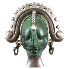 BIG Rare 1940s 50s Los Ballesteros Taxco Mexico Handmade Sterling Silver & Carved Malachite SNAKE QUEEN Brooch Pin PENDANT