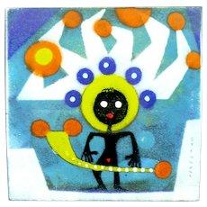 RARE 1950s John STENVALL (1907-1998) USA Handmade Copper Enamel Modernist FIGURE Design Wall Plaque ARTWORK
