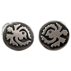 BIG Vintage 1940s 50s TAXCO Handmade Sterling Silver Mexican Modernist Creature Design CUFFLINKS