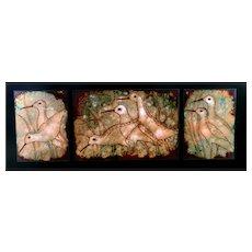 RARE 1985 Elizabeth Hoffman Dasch Oregon Handmade Copper Enamel SHOREBIRDS Triptych Framed & Matted ARTWORK