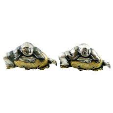 HUGE 1930s 40s JAPAN Handmade Mixed Metals Sterling Silver Gold Overlay Menuki HOTEI Laughing God of Luck CUFFLINKS