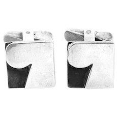 SUPERB Vintage 1950s Handmade Sterling Silver Sculptural Modernist Design CUFFLINKS