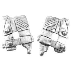 BIG 1960s 70s SIGNED Handmade Sterling Silver Modernist Brutalist Pierced EARRINGS