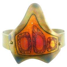 HUGE Rare Early SIGNED 1960s JACK BOYD San Diego California Handmade Copper Enamel & Bronze Abstract Modernist Cuff BRACELET