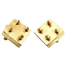 RARE 1940s Hubert Harmon Mexico Handmade Gilt Bronze Art Deco Dimensional Geometric Design CUFFLINKS