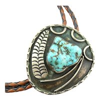 BIG Vintage 1960s Handmade Native Tribal Old Pawn Sterling Silver & Turquoise BOLO TIE