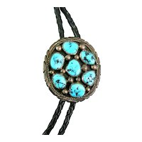 BIG Vintage 1980s 90s Handmade Tommy Moore Navajo Sterling & Turquoise BOLO TIE