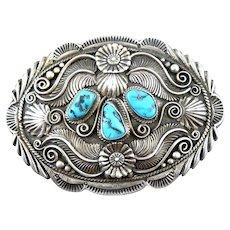 HUGE Vintage 1980s Alex BEGAY Navajo Handmade Sterling Silver & Turquoise Ornate Design BELT BUCKLE