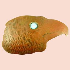 HUGE 1980s Signed Individuals Handmade Copper & Art Glass EAGLE HEAD Design Belt BUCKLE