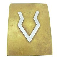 BIG 1960s 70s Handmade Mixed Metals Bronze & Sterling Silver Geometric Design Belt BUCKLE