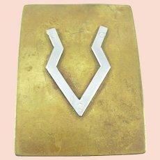 BIG 1960s 70s Handmade Mixed Metals Bronze & Sterling Silver Geometric Design Belt BUCKLE