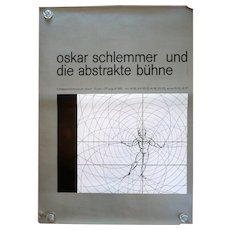 HUGE Vintage 1961 Exhibit OSKAR SCHLEMMER Kunstgewerbemuseum Zurich Fridolin Muller Exhibition Lithograph POSTER
