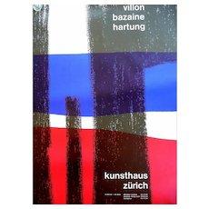 HUGE Vintage 1950s Original Lithograph Poster Kunsthaus Zurich Atelier Walter Diethelm