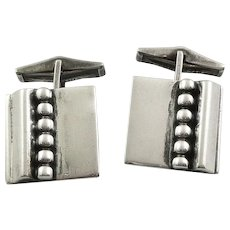 Vintage 1940s 50s Charles Leslie Smith Handmade Art Deco to Modernist Sterling Silver CUFFLINKS