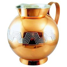 BIG 1940s 50s Victoria Taxco Ana Nunez de Brilanti Handmade Mixed Metals Copper & Silver Mexican Art Deco Geometric Design WATER PITCHER