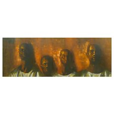 ORIGINAL 1960 Byron Randall LARGE Oil on Canvas Expressionist PAINTING of Four African Male Figures with Original Matte & Wood Frame