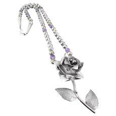 HUGE Vintage Lyle Secatero Navajo Handmade Sterling Silver & Amethyst Floral Rose Design Pendant NECKLACE