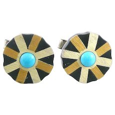 SUPERB 1950s Tono of Taxco Handmade Mixed Metals Sterling Silver Brass Black Onyx & Turquoise Mexican Modernist CUFFLINKS