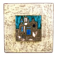 RARE 1950s Studio del Campo Bianca Tuninetto Turin Italy Copper Silver Enamel on Patinated Steel Backplate Wall Mounted ARTWORK