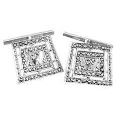 Vintage 1920s 30s Art Deco Rhodium Plated Sterling Silver & Marcasites Geometric Initial W or M Design CUFFLINKS