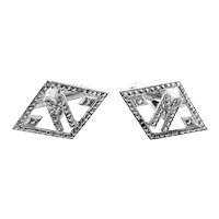 BIG Vintage 1930s 40s Art Deco Rhodium Plated Sterling Silver & Marcasites Geometric Initial M Design CUFFLINKS