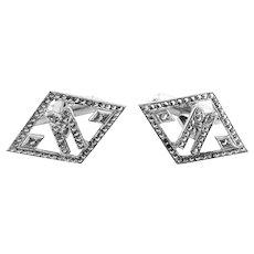 BIG Vintage 1930s 40s Art Deco Rhodium Plated Sterling Silver & Marcasites Geometric Initial M Design CUFFLINKS
