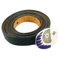 RARE !960s 70s de Passille Sylvestre Quebec Canada Silver Enamel Modernist FACE Belt Buckle on Original Dark Blue Leather Belt