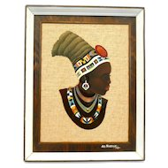 SUPERB 1969 Signed Lez Frizelle South Africa Handmade Copper Enamel 'Young Zulu Woman' Matte & Frame Sculpture ARTWORK