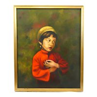 Original 1960s 70s Signed Margaret Miller American Oil Painting on Canvas of ASIAN GIRL in Gilt Wood Frame