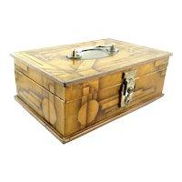 RARE and Wonderful 1920s 30s Art Deco Handmade Metal Airbrush Painted Geometric Design Jewelry BOX