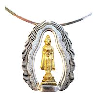 BIG Vintage 1960s Handmade Sterling Silver & Antique 18K Thai Standing Buddha Pendant NECKLACE
