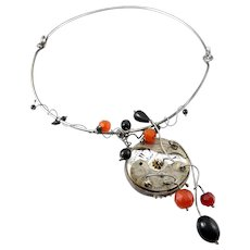 HUGE Vintage 1960s 70s Handmade Sterling Silver Black Coral Carnelian & Antique Watch Parts Unique One of a Kind NECKLACE