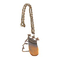 BIG Vintage 1940s 50s REBAJES NYC Handmade Copper Modernist QUEEN Pendant on Chain NECKLACE