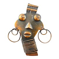 BIG Vintage 1930s 40s Francisco REBAJES Handmade Copper AFRICAN GIRL Brooch PIN