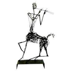 "HUGE 1950s Hand Forged Wrought Iron and Wire CENTAUR Playing Pipes Modernist Brutalist SCULPTURE - 24-3/4"" tall!"