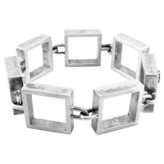 BIG 1950s Hans Hansen Bent Gabrielsen Denmark Handmade Sterling Silver Geometric Modernist Link BRACELET